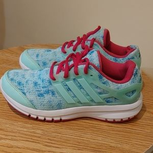 Adidas kids girls sneakers size 3 blue and pink